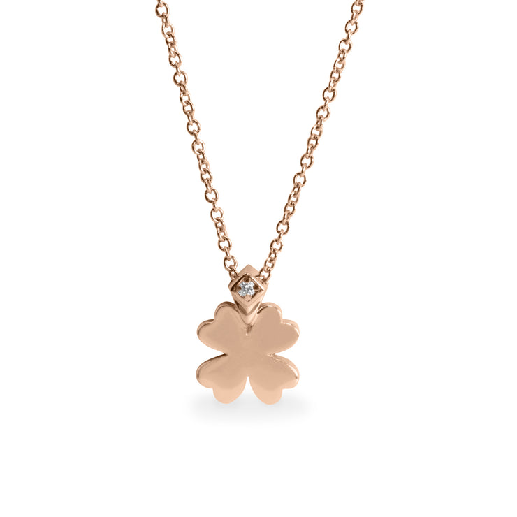 rose gold clover pendant with diamond
