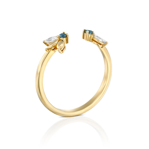 Jeanne Bécu Open Gold Ring With Diamonds & Blue Topaz
