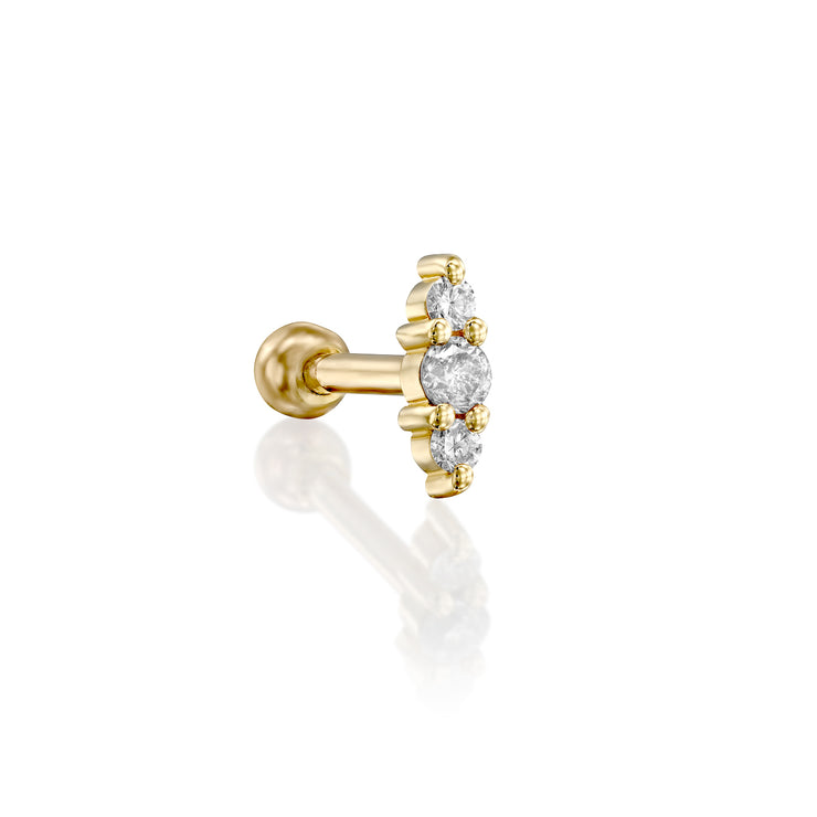 Audrey Piercing Earring With White Diamonds (Single)