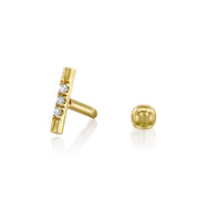 Valerie Piercing Gold Earring White Diamonds (Single)