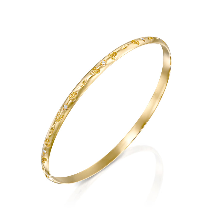 Anise Bangle Bracelet With White Diamonds