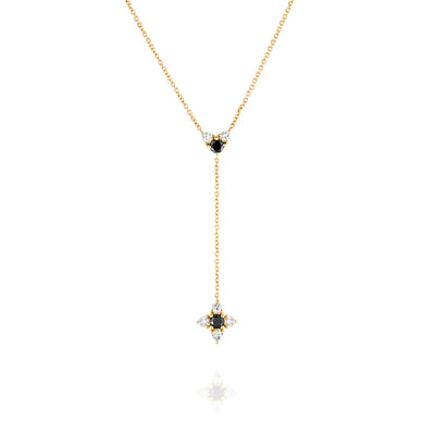 Alexandra Gold Necklace Black & White Diamonds