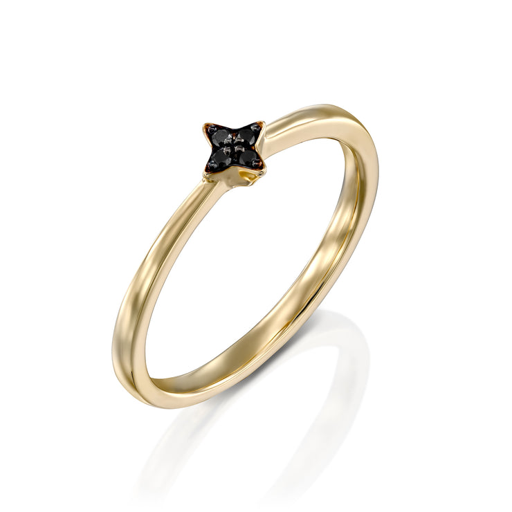 Mini Bey Ring With Black Diamonds