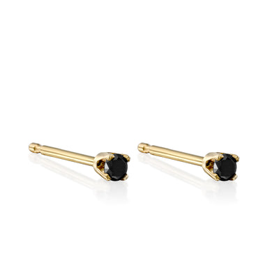 Martina Gold Earring 2mm Black Diamond