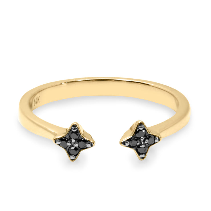 gold open ring star shaped black diamonds