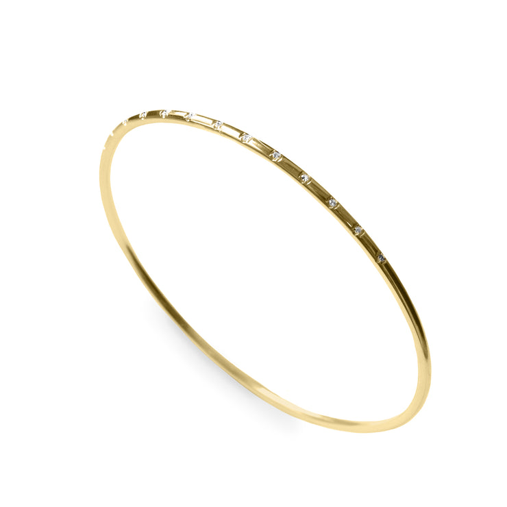 gold thin bangle with diamonds