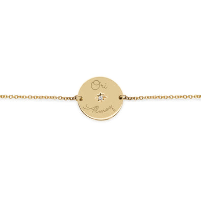 The Chiara Gold Bracelet Diamond Star Setting + Engraving
