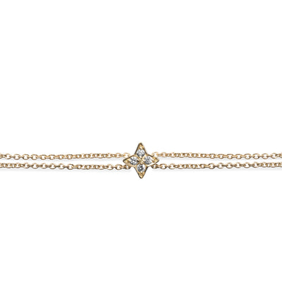gold bracelet with small star and diamonds