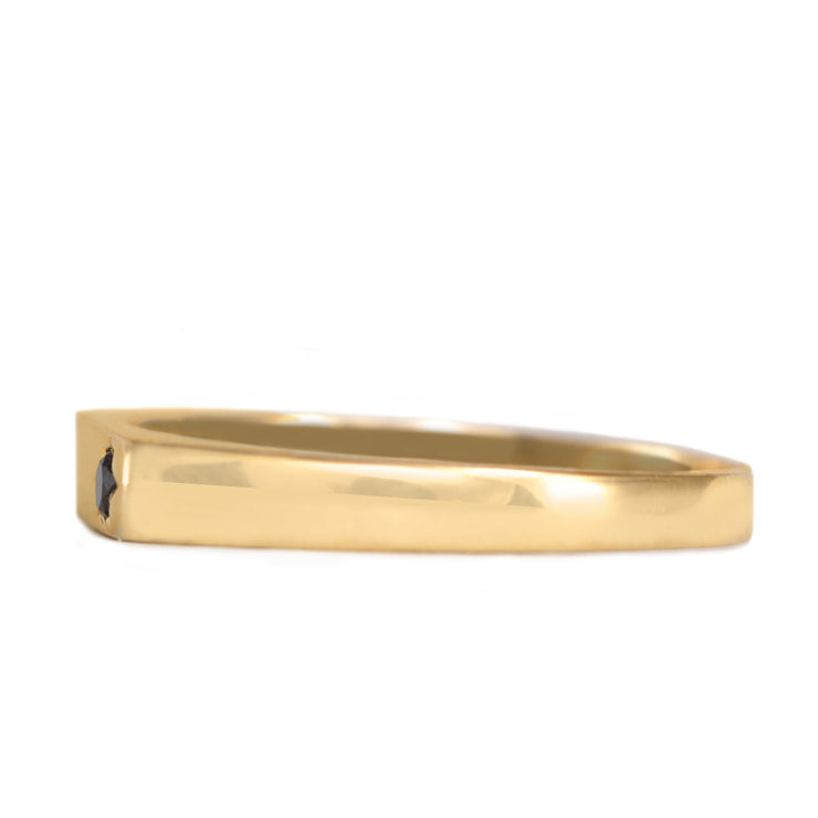 stackable gold ring with back diamond