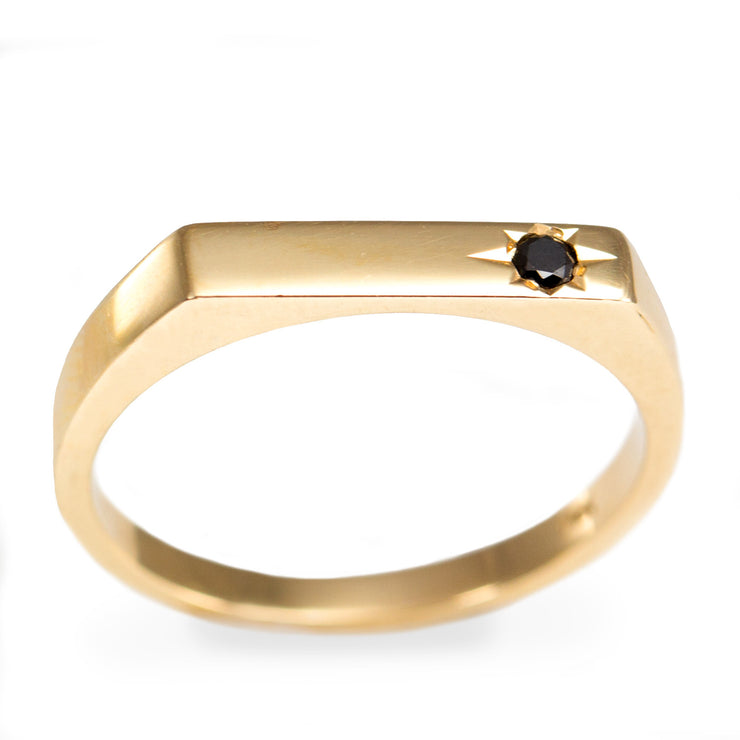 black diamond gold stackable ring