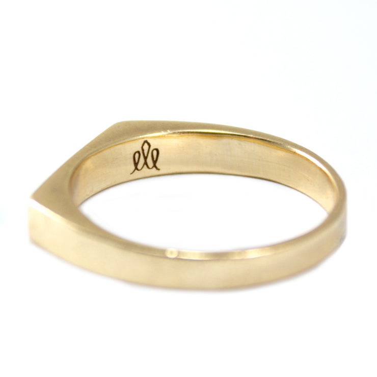 stackable gold ring with white diamond