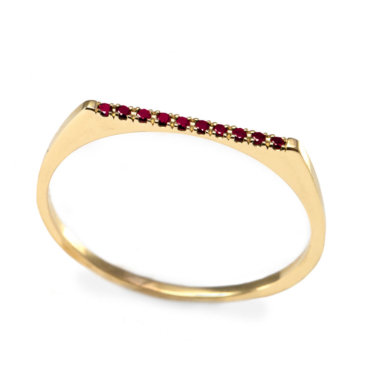 Miranda Encrusted Gold Ring With Rubies