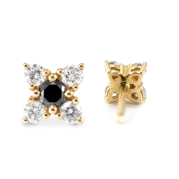 black and white diamonds on gold earrings