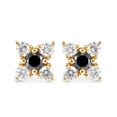 flower shaped stud earrings black and white diamonds