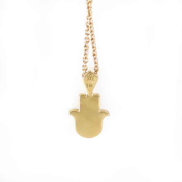 Hamsa Gold Necklace Diamond