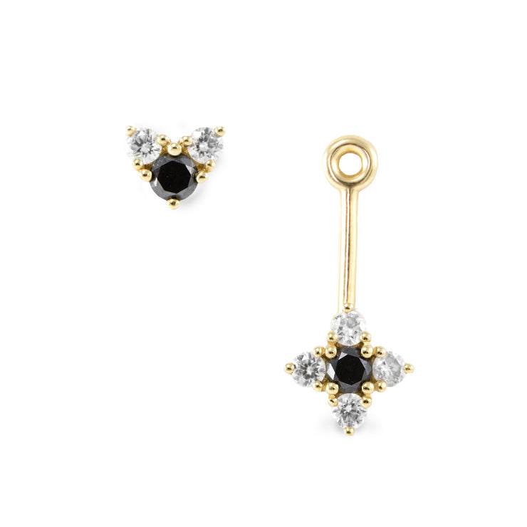 seven black and white diamonds hanging earrings