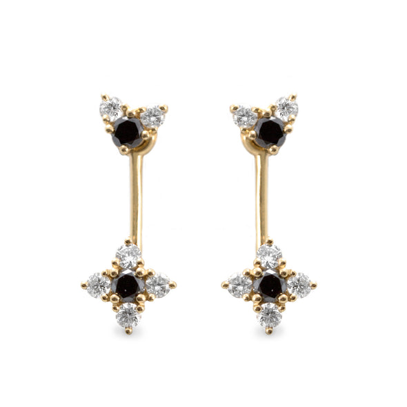 Nona Gold Earrings Black & White Diamonds