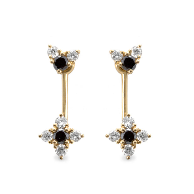 gold hanging earrings black and white diamonds