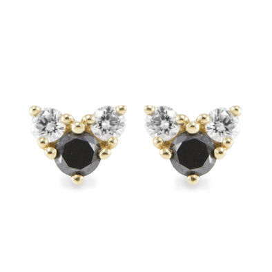Tatiana Gold Earrings Black Diamond