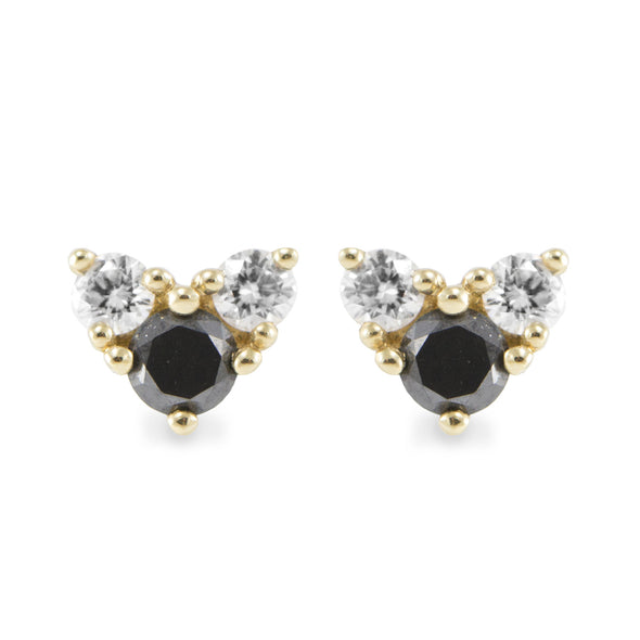 Tatiana Gold Earrings Black Diamonds