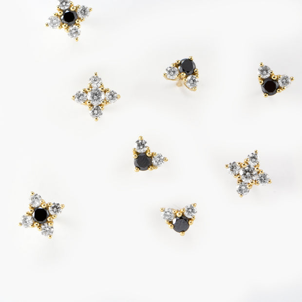 black and white diamonds stud earrings