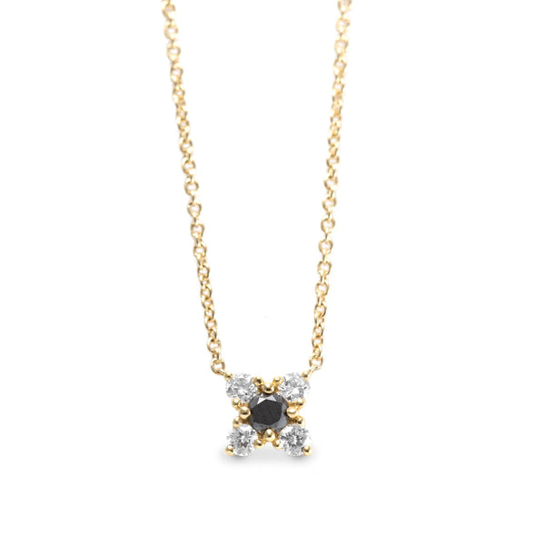 Valentina Gold Necklace Black & White Diamonds
