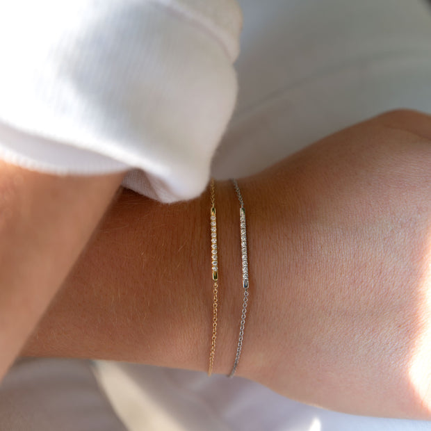 gold bar bracelet with white diamonds