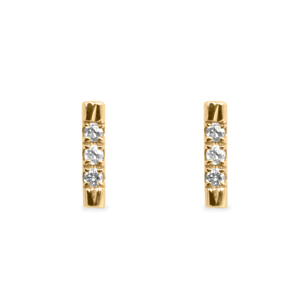 tiny bar earrings yellow gold