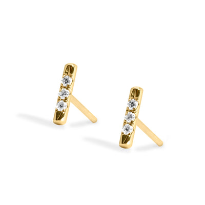yellow gold bar earrings white diamonds