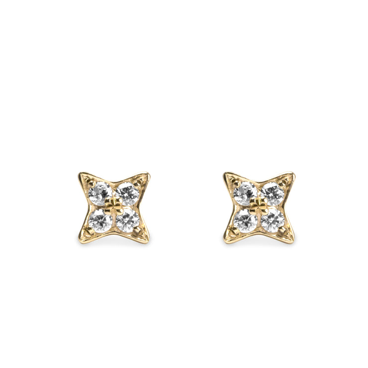 star shaped yellow gold earrings