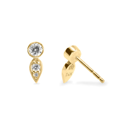 Carolina Gold Earrings White Diamond