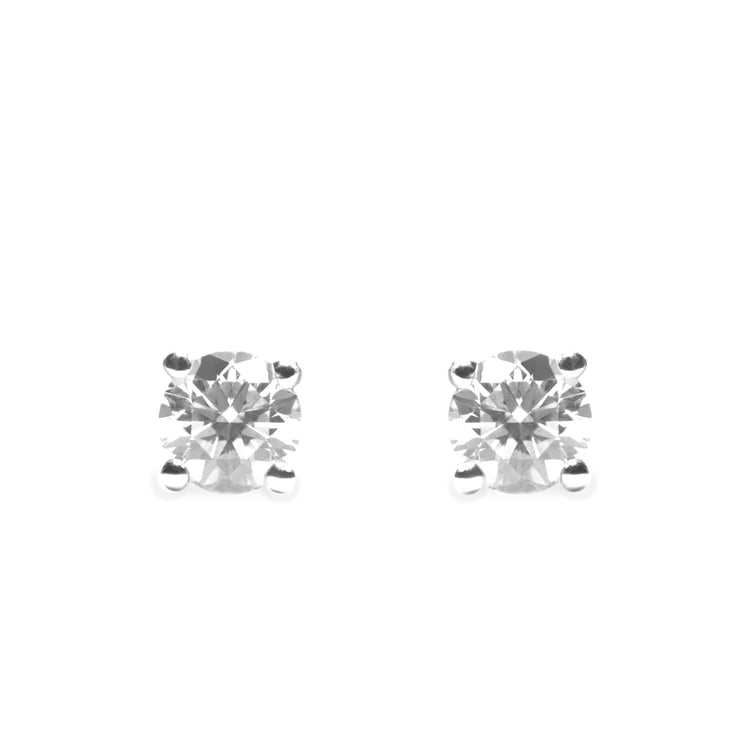 4 mm white diamond earrings