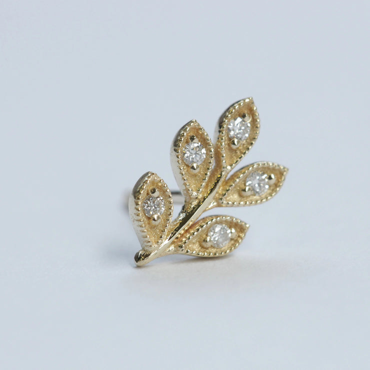 Leaf Gold Earring With White Diamonds (Single)