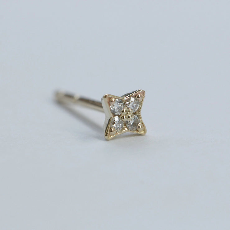 Mini Venus Gold Earrings With White Diamonds