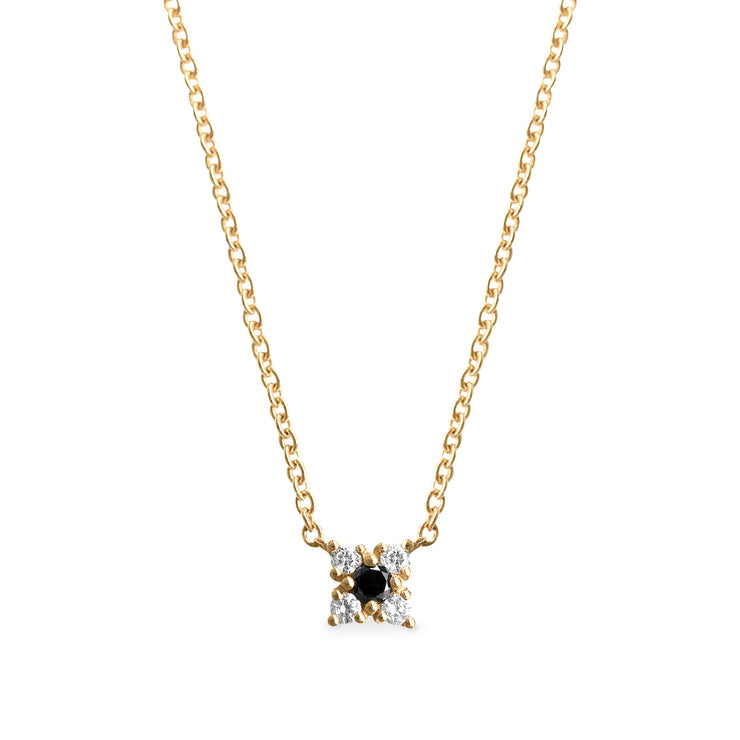 mini flower pendant with black and white diamonds