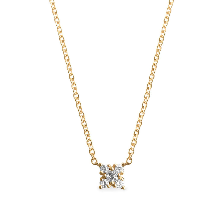 mini flower of diamonds gold necklace