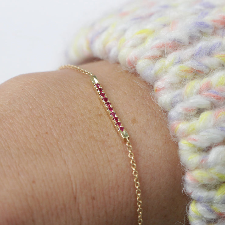 Everyday Gold Bracelet Set With rubies
