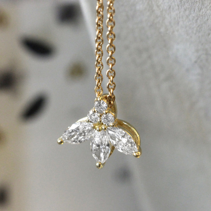 marquise diamonds gold necklace