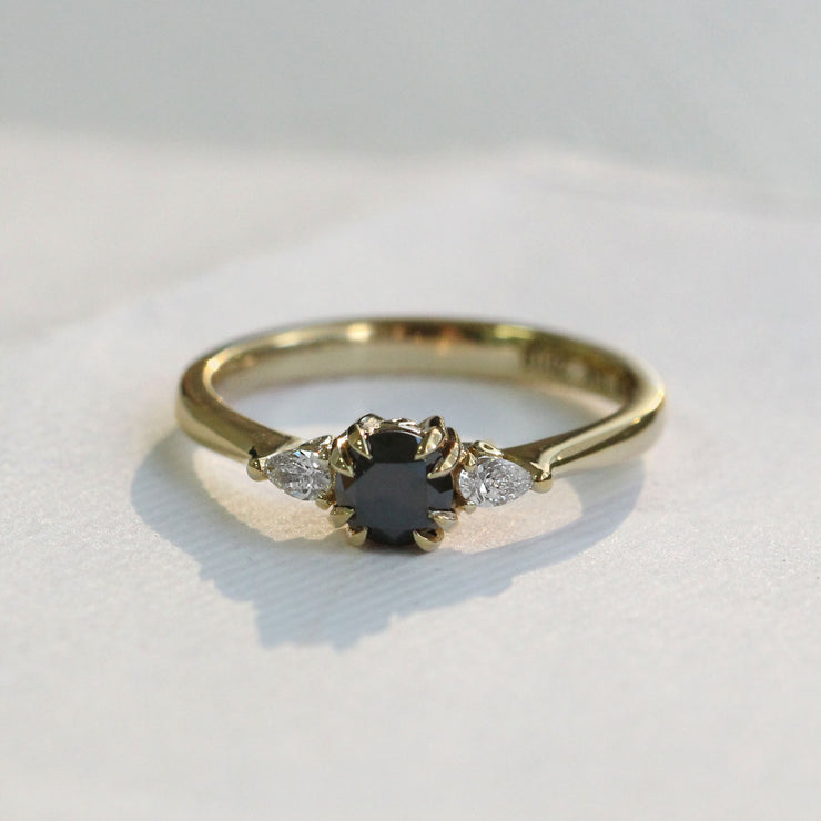 black and white diamonds engagement ring