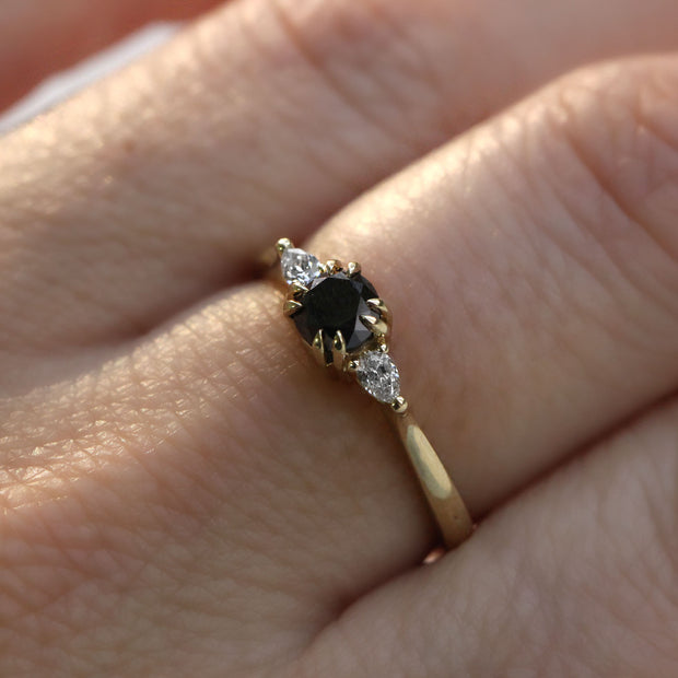 engagement ring with black and white diamonds