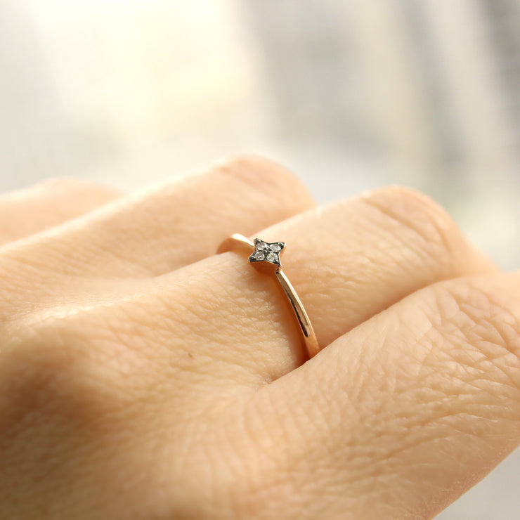 tiny star gold ring with diamonds