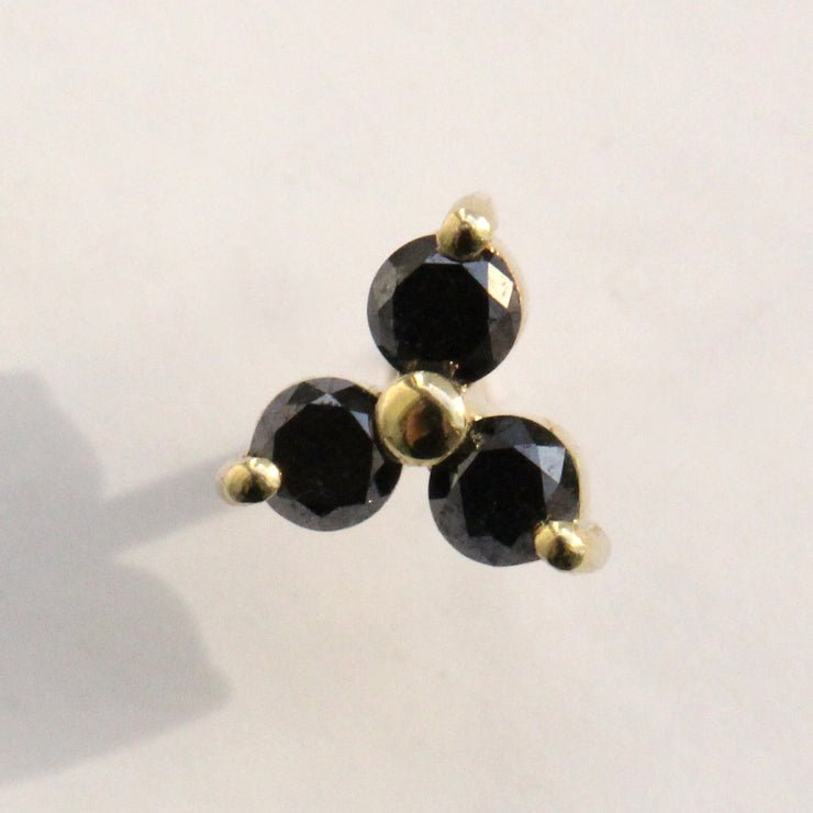 3 black diamonds gold earring grace