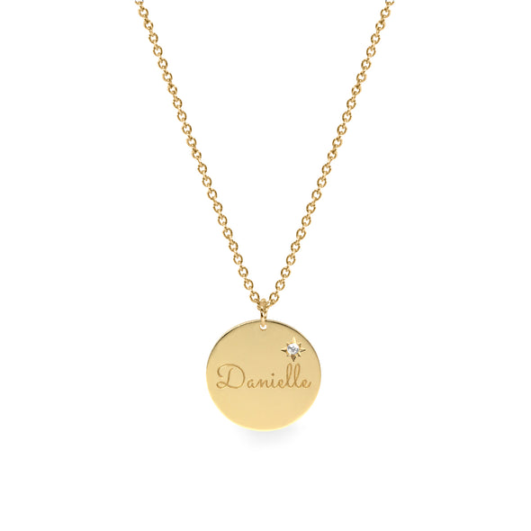 The Chiara Gold Necklace- Side Diamond Star Setting + Engraving