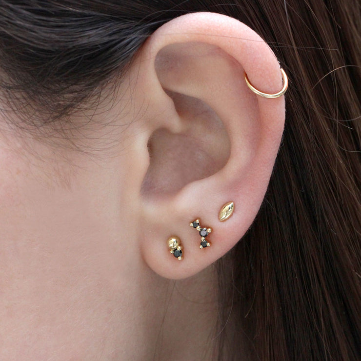 Frida Piercing Earring With Black Diamonds (Single)