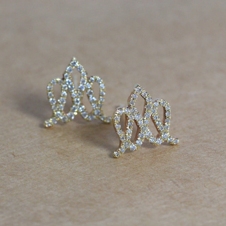 Crown Gold Earrings with Diamonds