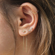 double piercing gold earring