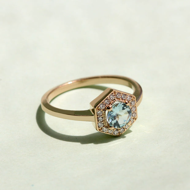 hexagon shaped engagement ring