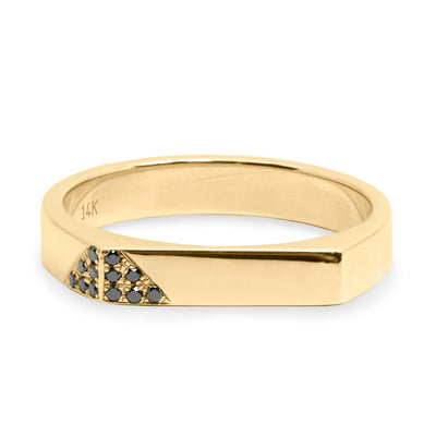 Charlotte Triangle Setting Gold Ring Black Diamonds