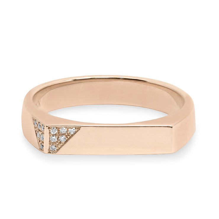 flat top gold ring with diamonds