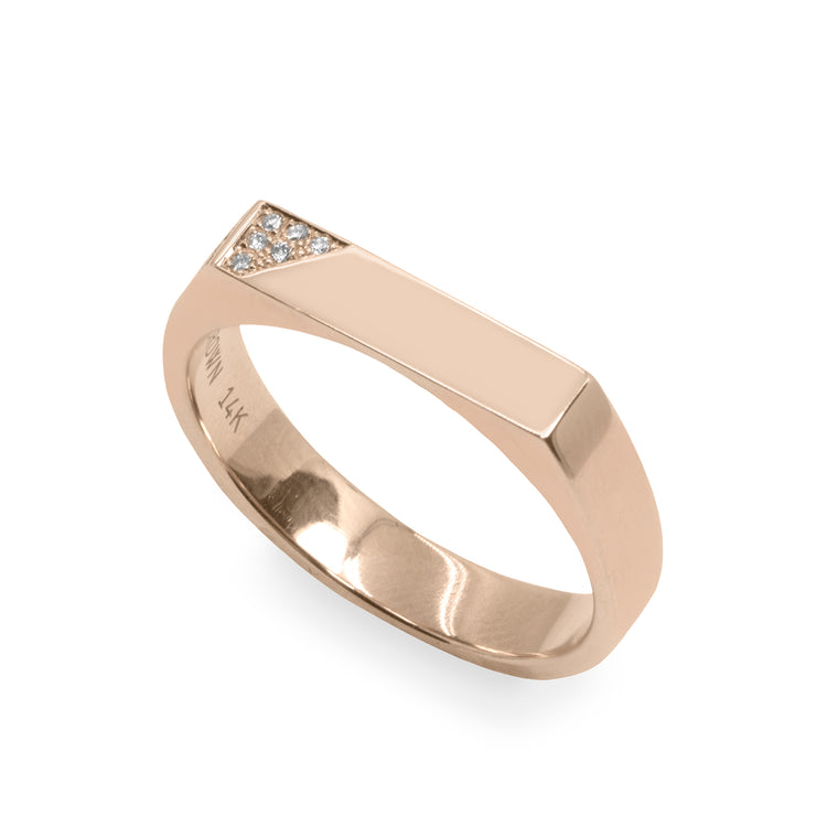 triangle Setting Gold ring White Diamonds